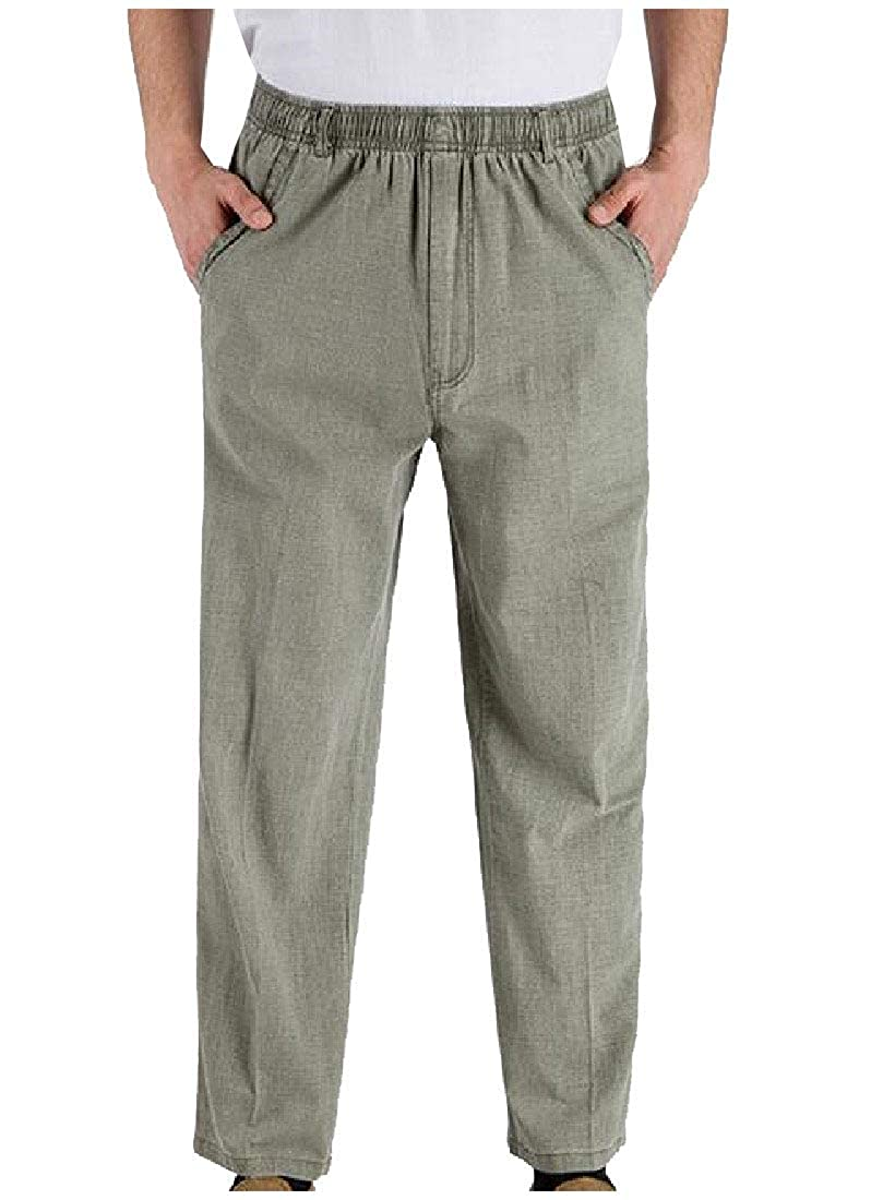 Abetteric Mens Comfy Flax Causal High Rise Baggy