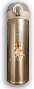 Stainless Water Bottle Design Kisspng Violin Drawing Watercolor Painting Music Cello Creative Guitar,Sports Drinking Bottle,Leak-Proof Vaccum Cup,Travel Mug Bounce Cover,White