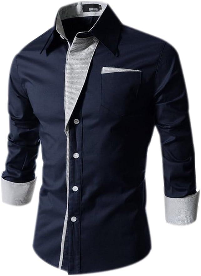 Fuxiang Camisas Hombre Slim Fit Shirt Manga Larga Básica Moda Camisa Casual Cuello Formales Vestir Shirts Blusa Tops Camiseta