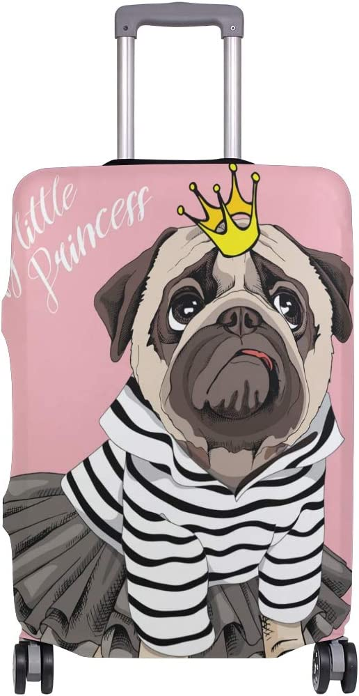 FOLPPLY Cute Cartoon Dog Pug My Little Princess Luggage Cover Baggage Suitcase Travel Protector Fit for 18-32 Inch