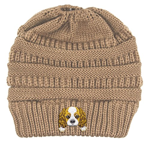 Cavalier King Charles Spaniel/Embroidered Puppy Dog Series Beanie - Stretch Fleece Cable Knit High Bun Ponytail Skullies Hat Cap - ()