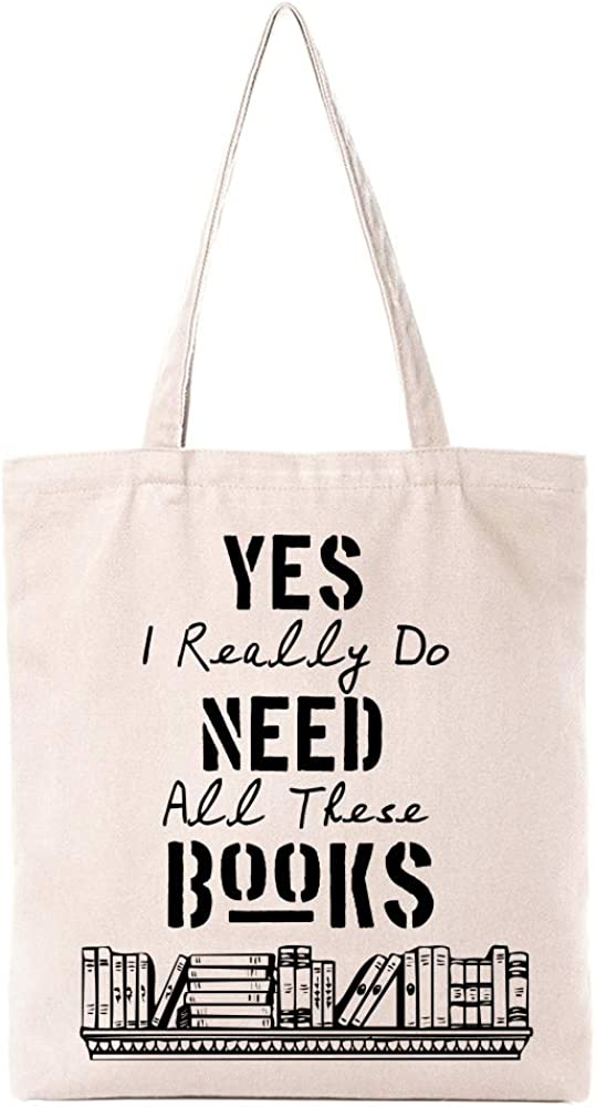 Funny Library Theme Natural Cotton Canvas Reusable Tote Bag Cute Eco-Friendly Cotton Tote Bag School Shoulder Bag Gifts for Bookworm Librarian Teens Women Friends Kids