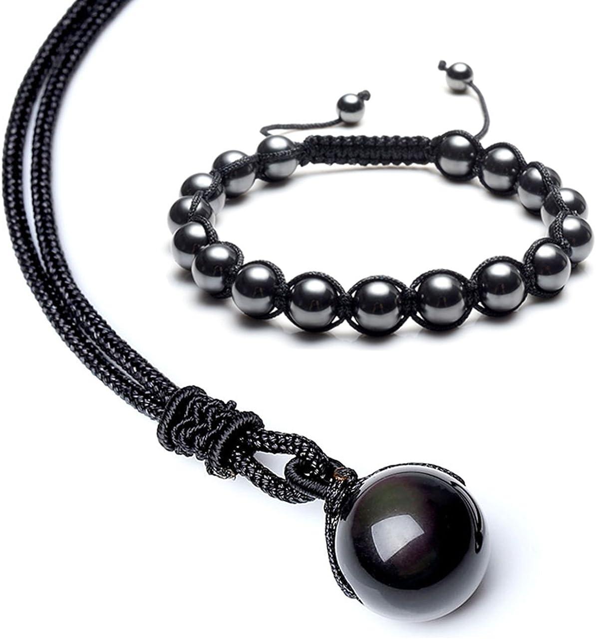 JSDDE - Collar de cuentas con diseño de obsidiana negra natural con ojos de arco iris y pulsera, joyería de cristal curativo para mujer