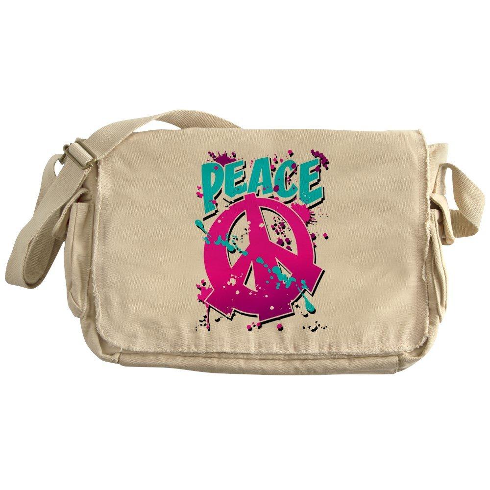 Royal Lion Khaki Messenger Bag Peace Symbol Sign Splatter Neon