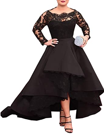 Mulanbridal Womens Hi-Lo Prom Dress Lace Plus Size Formal Maxi Evening Gowns Long Sleeve