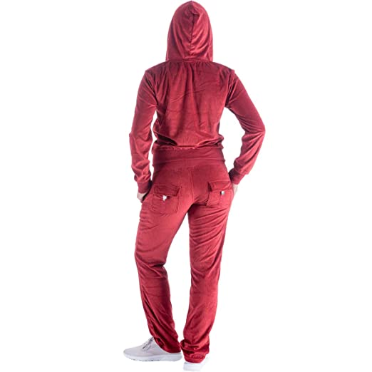 Womens Soft Active 2 Piece Velour Hoodie & Pants Tracksuit Set at Amazon Womens Clothing store: