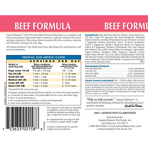 Natural Balance Ultra Premium Canned Dog Food, Beef Formula, 13-Ounce (Pack of 12) by Natural Balance (Image #1)