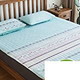 AMYDREAMSTORE Tencel air conditioning soft sleeping mat 1.8m bed three sets summer folded ice silk 1.5 meters mat for dormitory bedroom hotel-I Queen2