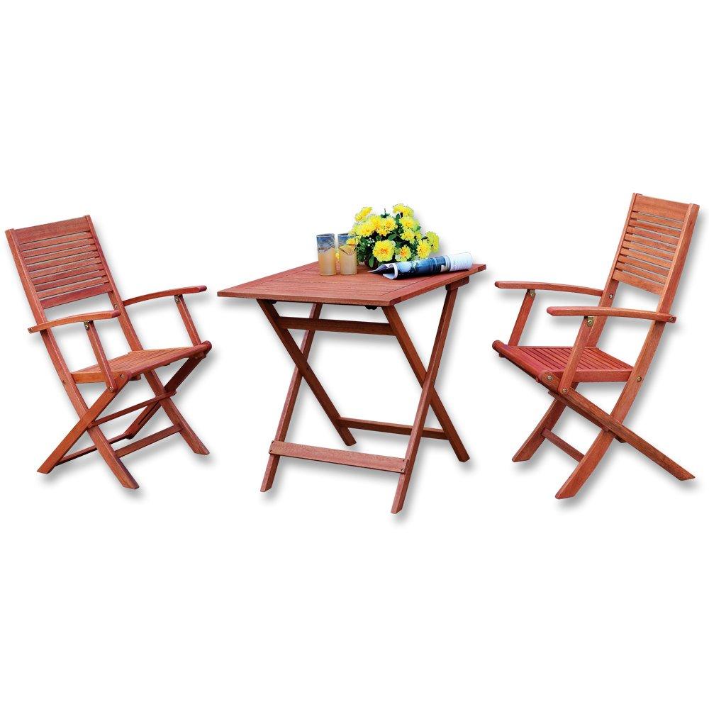 Amazon.de: Balkon Garten Sitzgruppe 3-tlg. Eukalyptus Hartholz Tisch ...