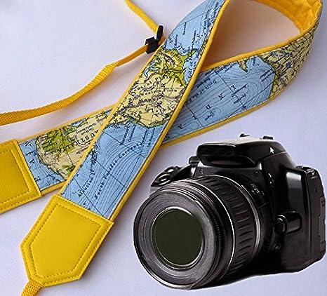 intepro Mapa del Mundo Correa de cámara. Yellow Correa para cámara ...