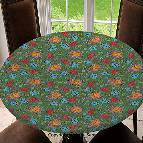Spillproof Elastic Edged Tablecloths for Round Tables 47 Inch,Ethnic Image with Swirls Floral Details Paisley Design Fern Green Backdrop Indoor Outdoor Camping Picnic Circle Table Cloth,Orange Blue