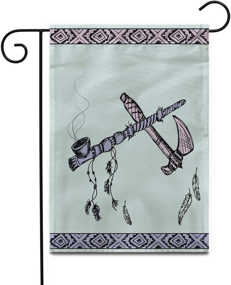 """Awowee 28""""x40"""" Garden Flag Colorful of Traditional Native American Peace Pipe and Tomahawk Outdoor Home Decor Double Sided Yard Flags Banner for Patio Lawn"""
