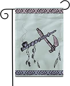 "Awowee 28""x40"" Garden Flag Colorful of Traditional Native American Peace Pipe and Tomahawk Outdoor Home Decor Double Sided Yard Flags Banner for Patio Lawn"