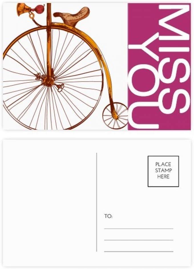 DIYthinker Pasado de moda de la bicicleta de alta Wheeler Bretaña señorita postal Conjunto de tarjeta de correo Gracias lateral 20Pcs 5,7 pulgadas x 3,8 pulgadas Multicolor: Amazon.es: Oficina y papelería