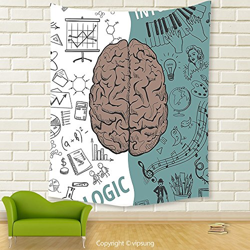 Vipsung House Decor Tapestry Modern Decor Brain Image With Left And Right Side Music Logic Art Side Science Print White Teal Umber Wall Hanging For Bedroom Living Room Dorm