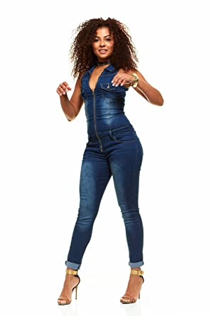 11b130267789 Amazon.com  Skinny Jeans for Women Sleeveless Slim Fit Stretch Jumpsuit  Romper Junior sizes  Clothing