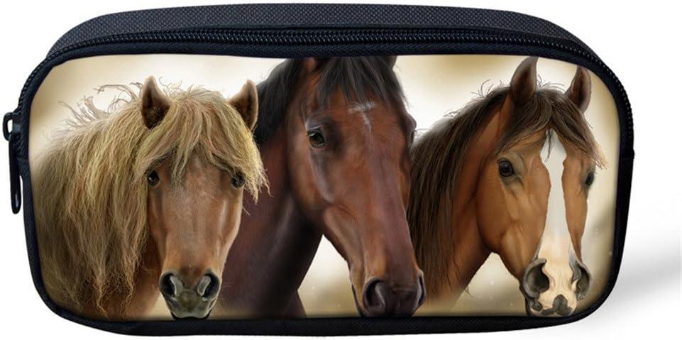 coloranimal Crazy 3d caballo Impreso lápiz funda con cremallera cierre Cosméticos Make Up Bag