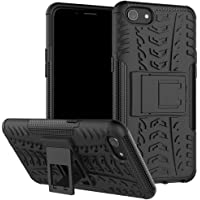 Delkart Tough Military Grade Armor Defender Series Dual Protection Layer Hybrid TPU + PC Kickstand Back Case Cover for Oppo A83 - Black