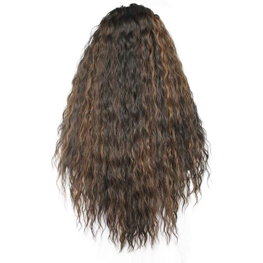 La signora piccola parrucca riccia,sezione anteriore del merletto alta densità lunga fibra naturale dell'onda Marroneee scuro Parrucca sintetica Separazione intermedia, (misura  24 pollici)