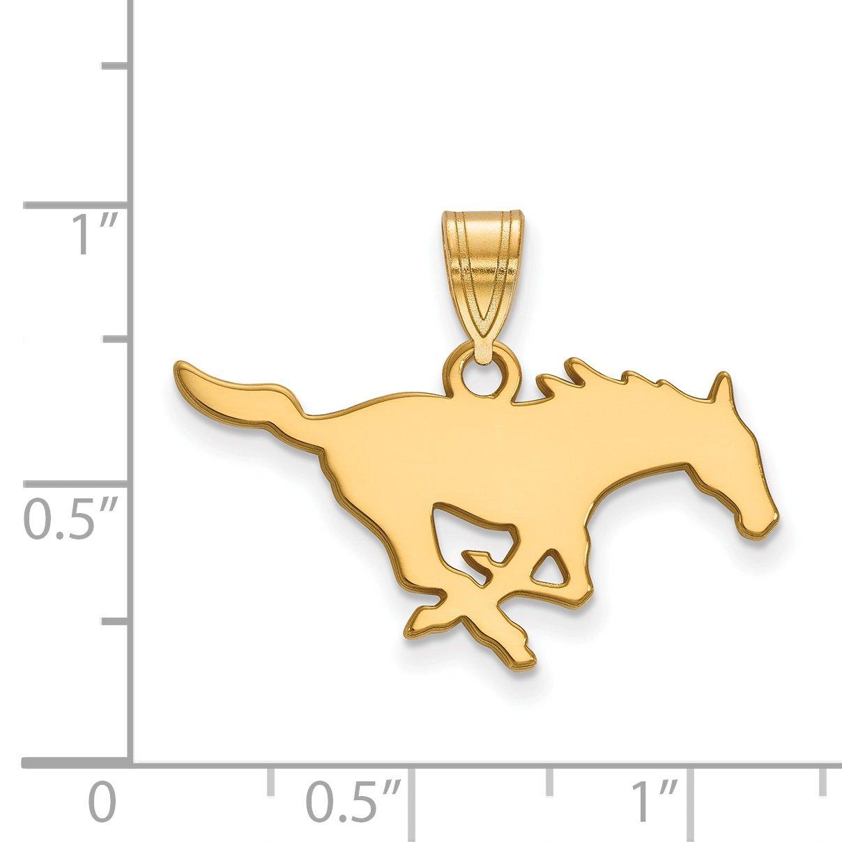 14k Yellow Gold Southern Methodist University Mustangs School Mascot Pendant 13x27mm