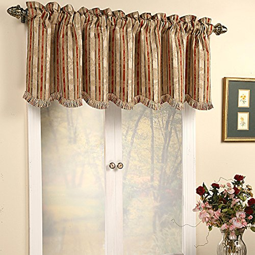 Stylemaster Home Products Dalton Scalloped Valance with Fringe, 57