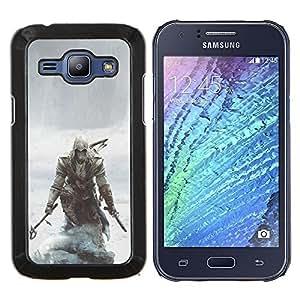 Asesinos pirata- Metal de aluminio y de plástico duro Caja del teléfono - Negro - Samsung Galaxy J1 / J100