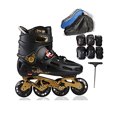 Sljj Outdoor Men's Adult Comfortable Breathable Inline Skates Combo,Professional High Help Speed Roller Skates for Beginner and Teen Black and White: Home & Kitchen