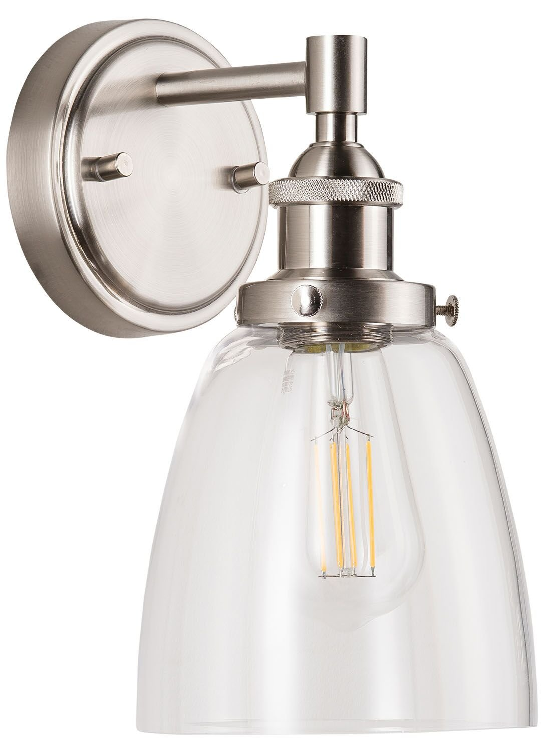 Fiorentino LED Industrial Wall Sconce – Brushed Nickel w/ Clear Glass - Linea di Liara LL-WL582-BN