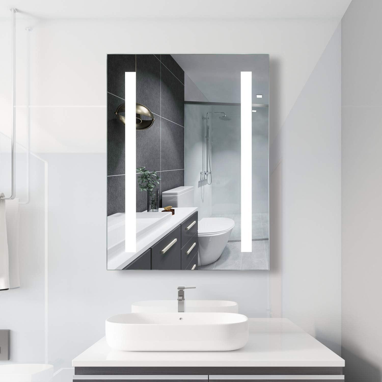 Habison Miroir de salle de bain avec /éclairage LED en aluminium avec interrupteur /à bouton 45 x 60 cm IP44 Classe /énerg/étique A +