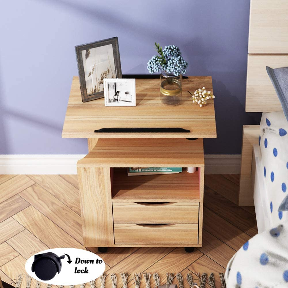 NSDUS-CT1-OK SogesHome Bedside Table with Swivel Shelf Nightstand Storage Cabinet Table Chest Drawer for Bedroom Oak