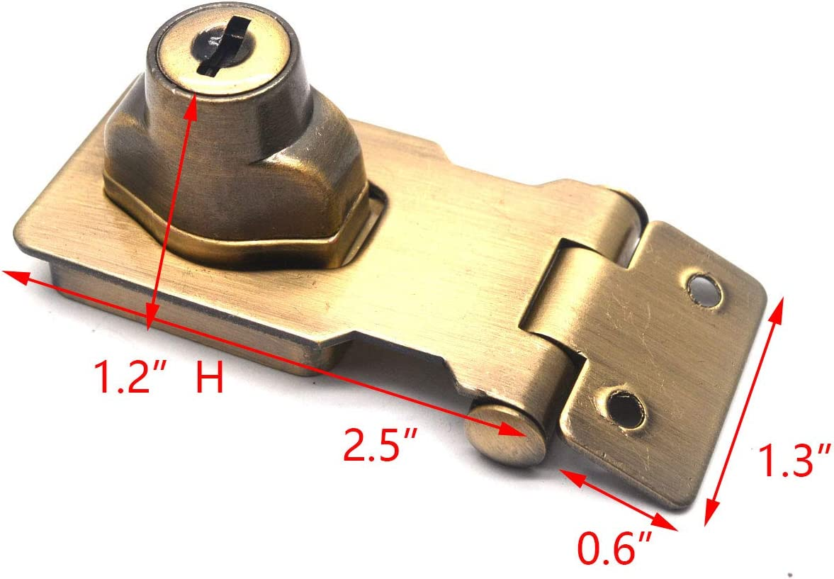 Tulead Silver Keyed Locker Hasp Door Lock Box Buckle 2.5 Alloy Cabinet Locking Hasp