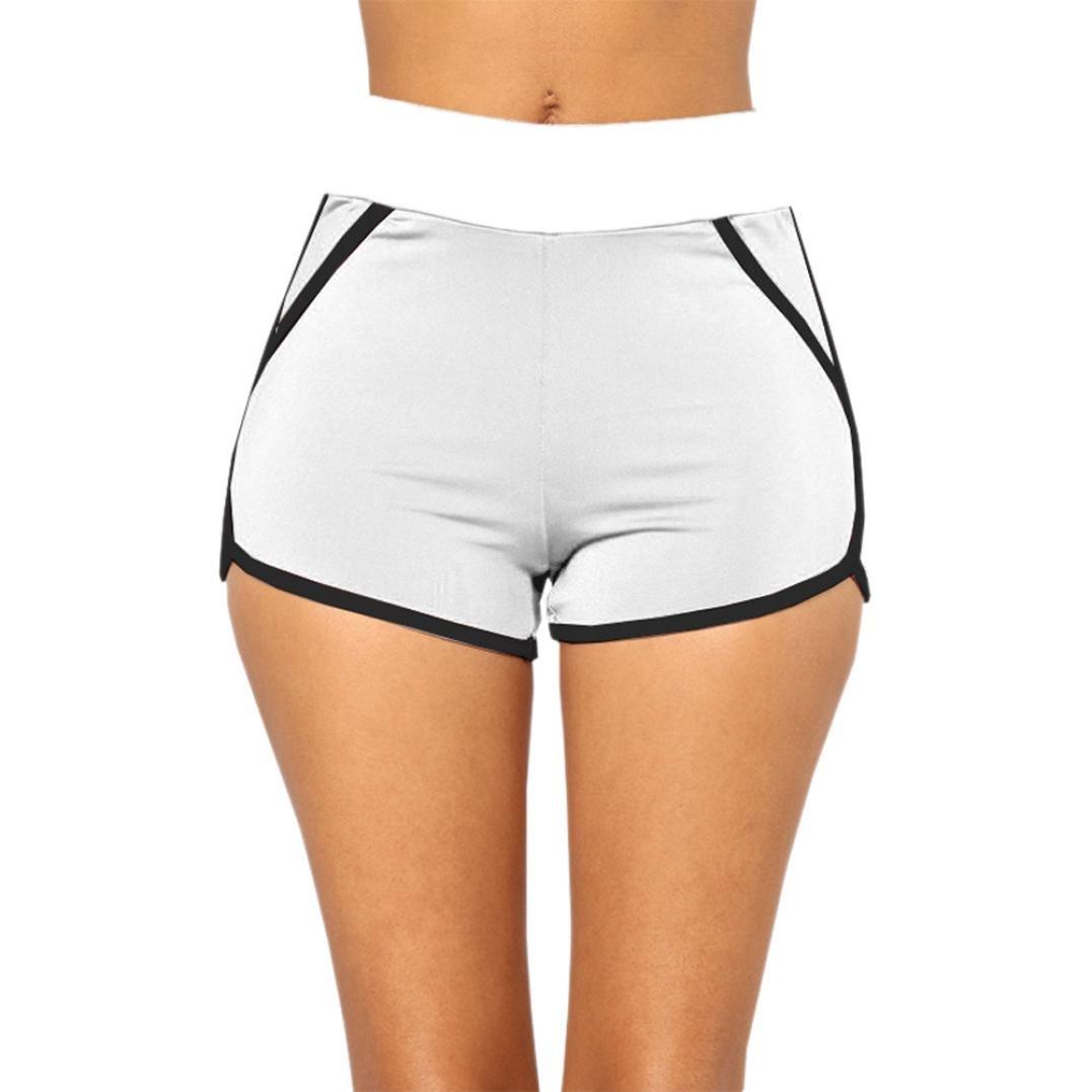 CieKen™ Summer Pants Women Sports Shorts Gym Workout Waistband Yoga Running Shorts (White, Large)