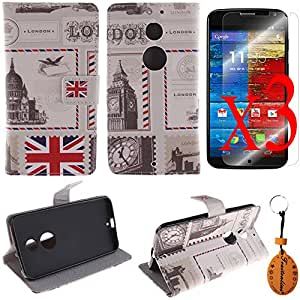 Traitonline 3 Protective Films + Protective Skin PU Leather Wallet Case For MOTO X+1 Cover Shell Pouch With Credit Card Slots