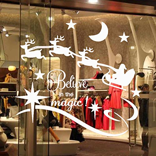 Christmas Wall Stickers - Santa Clause/ The Reindeer Deer Pattern / Sleigh /Stars Moon (Believe in the Magic !) Removable Decals + 27 pcs White Snowflakes Window Clings (Christmas Floor Clings)