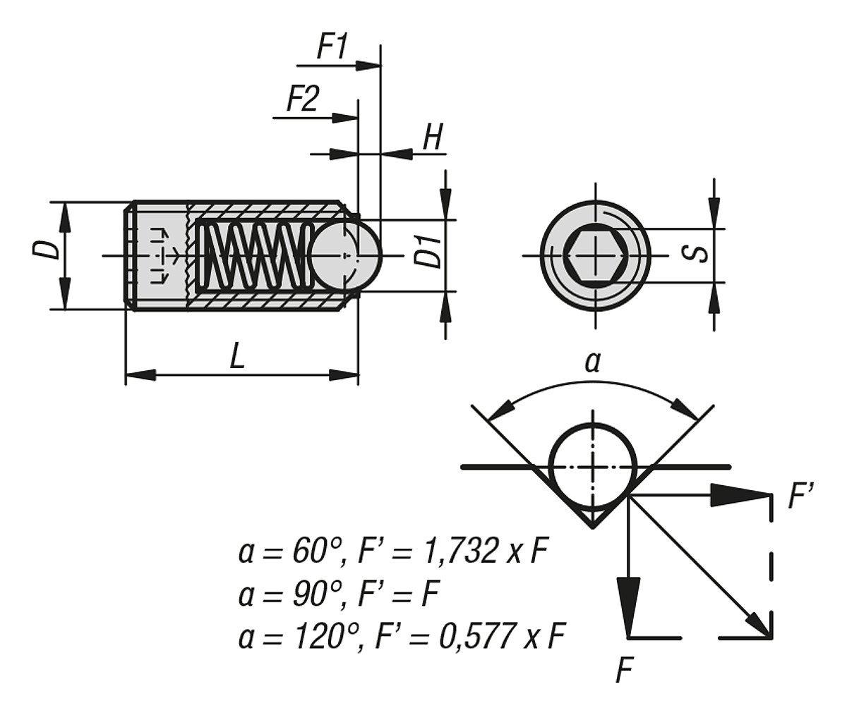 k0315.04 Komp: Boule en acier inoxydable federndes /à bascule pour pi/èce de pression standard M04/L = 10/Ressort Acier VPE = 25 1/Pi/èces