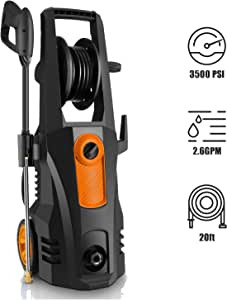 TEANDE 3500 PSI Electric Pressure Washer, 2.60 GPM 1800W Power Washer with Hose Reel Orange