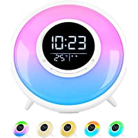 All -in-One Wake Up Light Alarm Clock with FM Radio, White Noise Sound Machine,Sleep Timer,10 Color Night Light & 23…