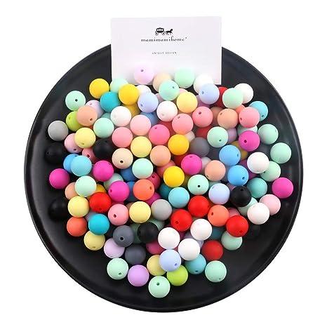 59b9bc504240 15mm Perlas de silicona flojo redondo Orgánica joyería de enfermería para  la dentición del bebé de