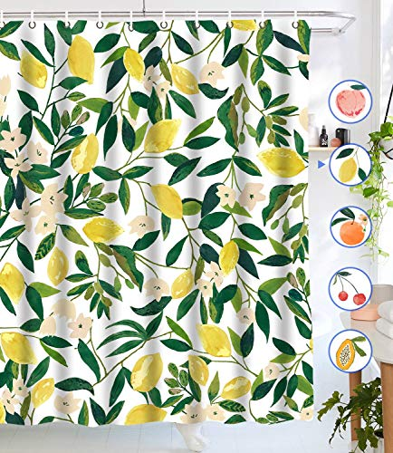 Lifeel Lemon Shower Curtains, Allover Fruits Shower Curtain Green Leaves Plant Design Waterproof Fabric Bathroom Shower Curtain Set with 12 Hooks, Green Yellow 72×72