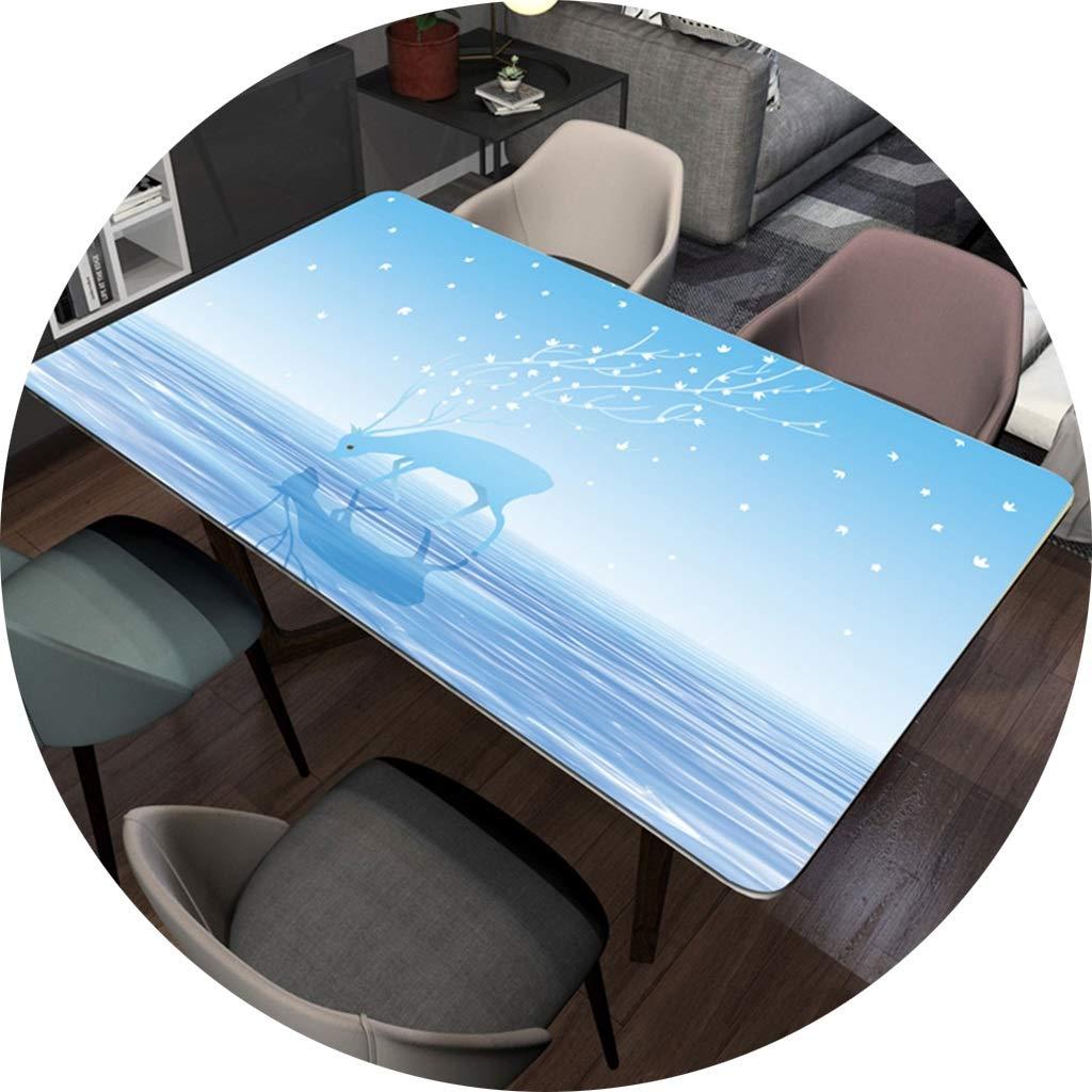 長方形のポリ塩化ビニールのテーブルクロス、テーブルのコーヒーテーブル-1.5mmのための新鮮な自然な青と白の防水デスクトッププロテクター CFJRB (Color : PVC, Size : 90X160cm) 90X160cm PVC B07SRXXN2X