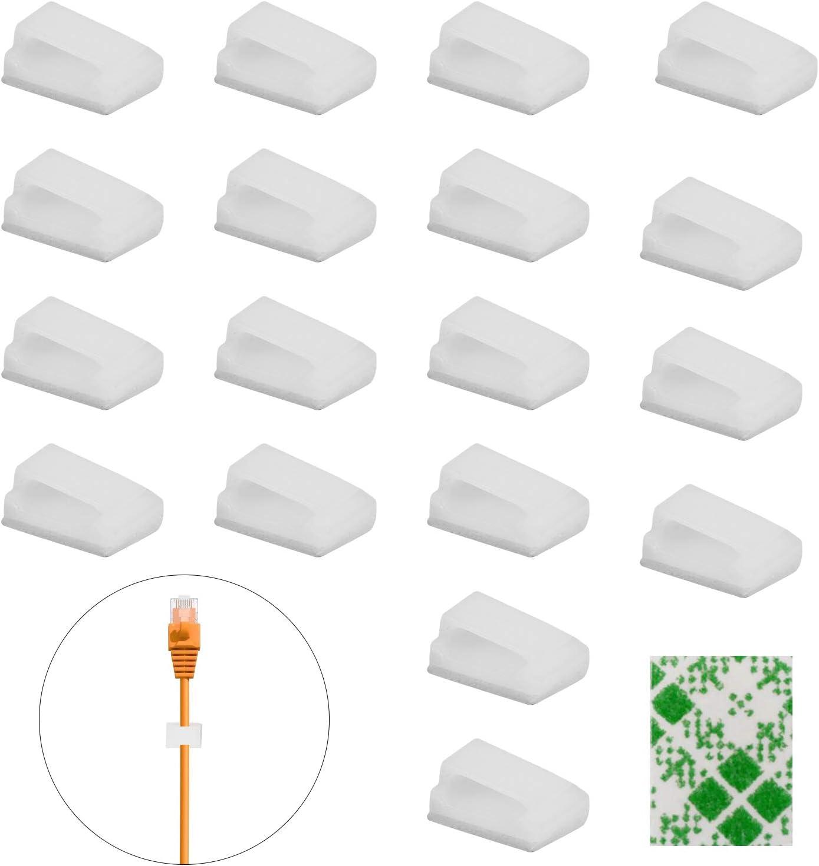 Bianco BELIOF 250 Pcs Clip del Cavo Adesivi Clip Fermacavi Clip di Fissaggio Cavo Autoadesivi per Cavi Clip per Gestione del Cavo Fermacavo di Plastica Organizzatore Cavo per Casa Ufficio