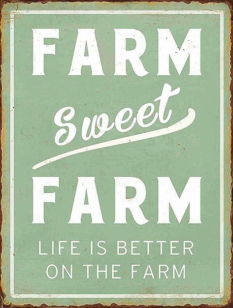 RABEAN Farm Sweet Farm Póster de Pared Aluminio Metal ...