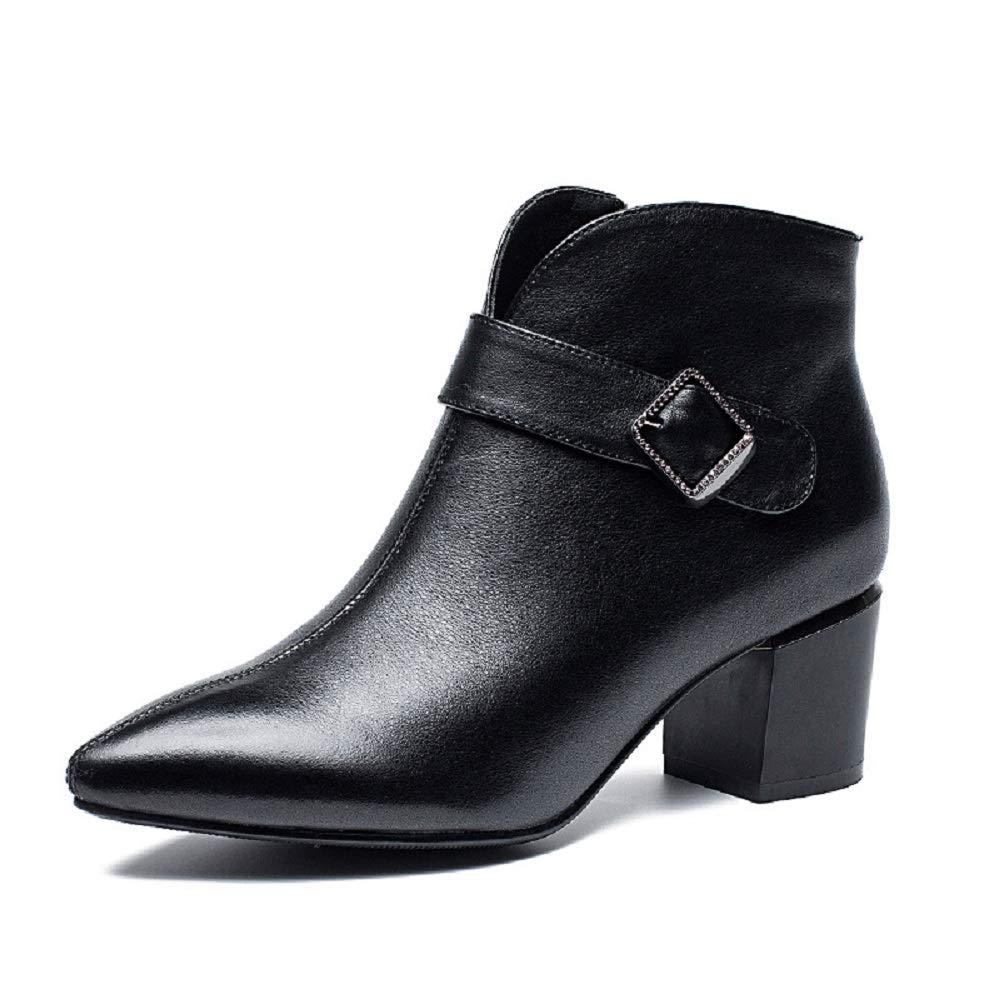 ZHRUI Schwarze Stiefel für Damen Leder Reißverschluss Spitzschuh (Farbe   Schwarz, Größe   EU 39)