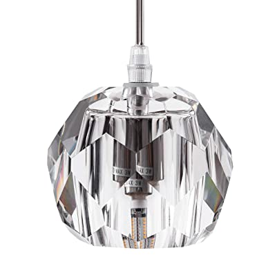 Modern Clear Crystal Globe Pendant Lighting for Kitchen Island, One-Light Indoor Decorative Fixture Ceiling Pendant Lighting for Hanging Above Dinning Room Kitchen Island Living Room Bedroom