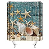 Fishing Net Shower Curtain Nautical Shower Curtain, Seashell Starfish Conch Shower Curtain Fishing Nets Beach Decoration Waterproof Bathroom Shower Curtain, Fabric Bathroom Decor Set with Hooks - 72×72 Inch
