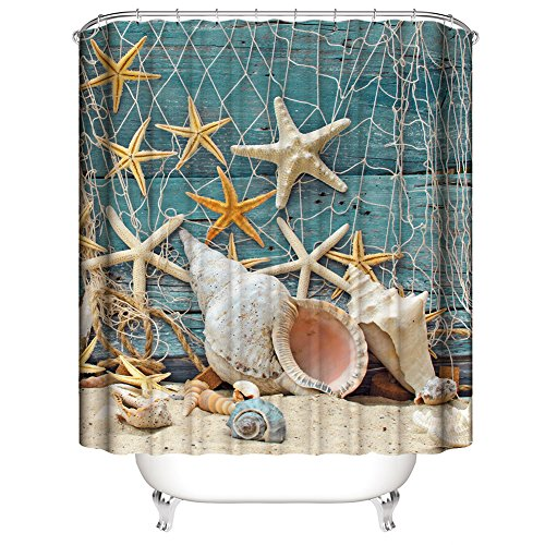 Nautical Shower Curtain, Seashell Starfish Conch Shower Curtain Fishing Nets Beach Decoration Waterproof Bathroom Shower Curtain, Fabric Bathroom Decor Set with Hooks - 72×72 ()