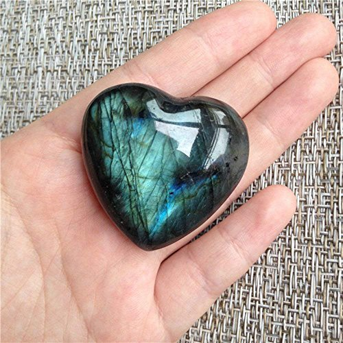 AITELEI Moonstone Crystal Labradorite Palm Stone Healing Quartz Gemstone Worry Stone Heart Shape for Jewllery Making Worry Stone Therapy Smooth