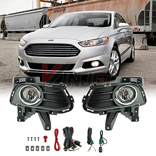 Winjet WJ30-0515-09 for 2013-2016 Ford Fusion Clear Lens RH LH Factory OE Fitment Style Replacement Pair Fog Lights Kit with Bezel Trim Wiring Harness Switch Set Pair (Bulbs Included)