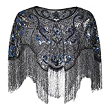PrettyGuide Women's Flapper Shawl Bead Sequin Inspired 1920s Gatsby Evening Warps Black Blue Silver