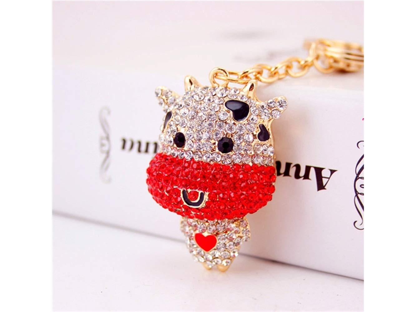Car Keychain, Diamond Chinese Zodiac Cattle Keychain Animal Shape Key Trinket Car Bag Key Holder Decorations(Red) for Gift